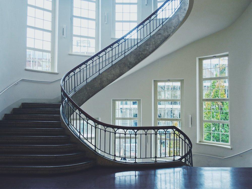 The free-winding staircase at Bauhaus University, Weimar