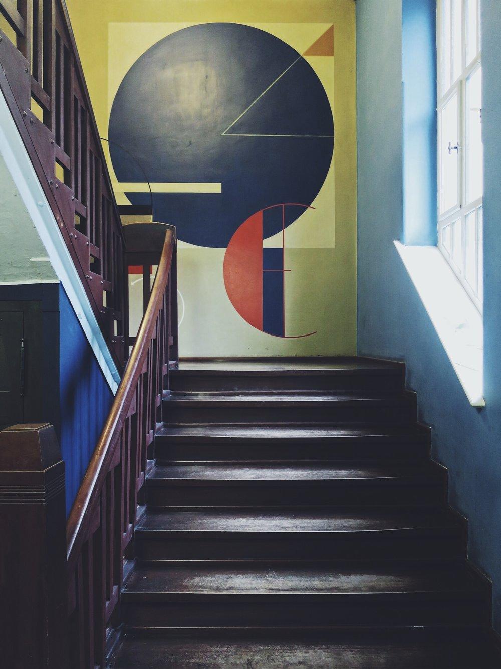 Wall painting inside the Bauhaus University, Weimar