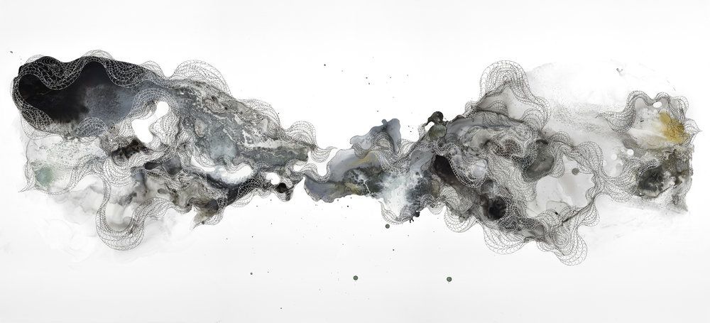 Shell 07, ink and acrylic on Yupo, 55 x 25 in., 2016