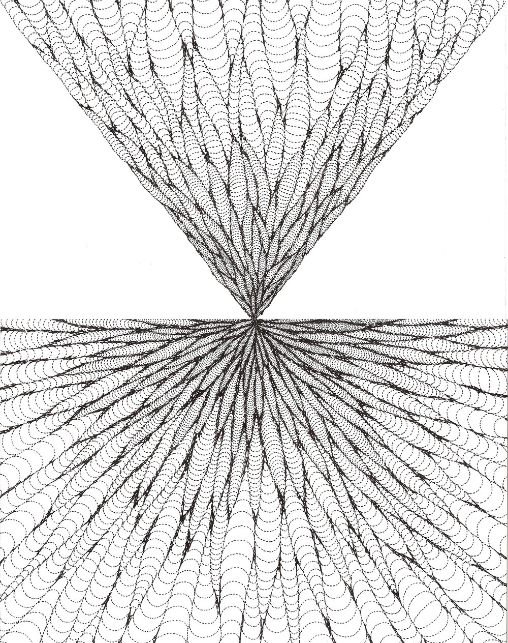 Convergence, ink on paper, 14x11 in., 2012