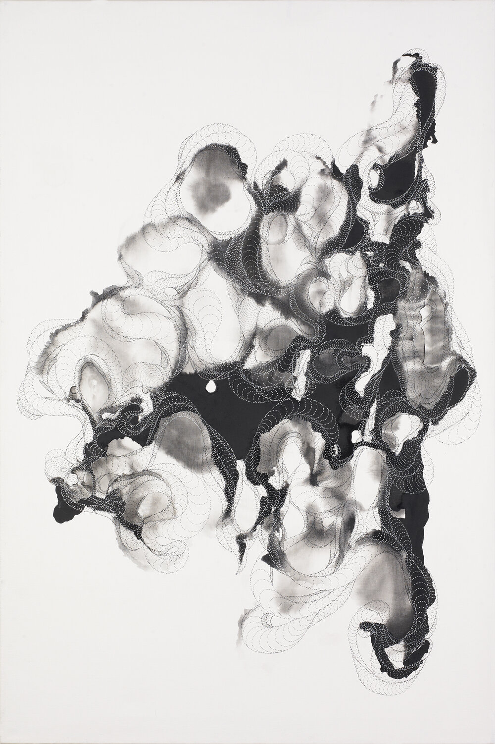 Accumulation 02, ink on canvas, 36x 24 in., 2012