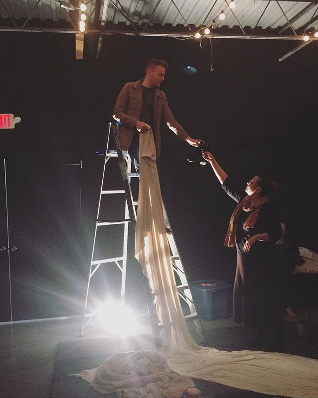Devising a new piece from is a heck of a lot easier (and double the fun) when you have two fearless directors leading the way. Each rehearsal with our co-directors @odellc and @mikejoel27 is 💯% collaborative and exploratory. This world of Yarns is really coming together. The dramatic lighting and ladder don't hurt, either. ✨ #WorldPremiereofYarns #DevisinginProgress #MillionDollarFabric #DreamTeam