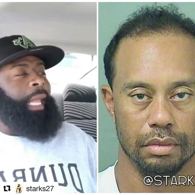 ‼️Made me laugh like hell ‼️ #Repost @starks27 (@get_repost) ・・・ Tiger Woods DUI mugshot roast 🏌️😂 ➖➖➖➖➖➖➖➖➖➖➖➖➖➖ For more videos search the 👉🏾#STARKSVIDS 👈🏾 hashtag  #TigerWoods #SunkenPlace #GetOut  Swipe left and click that follow button! 💯