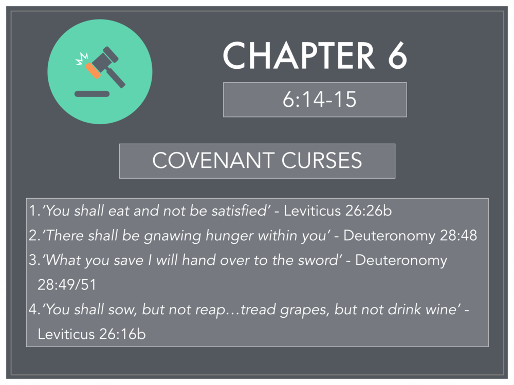 Covenant curses verse references from Micah 6:14-15