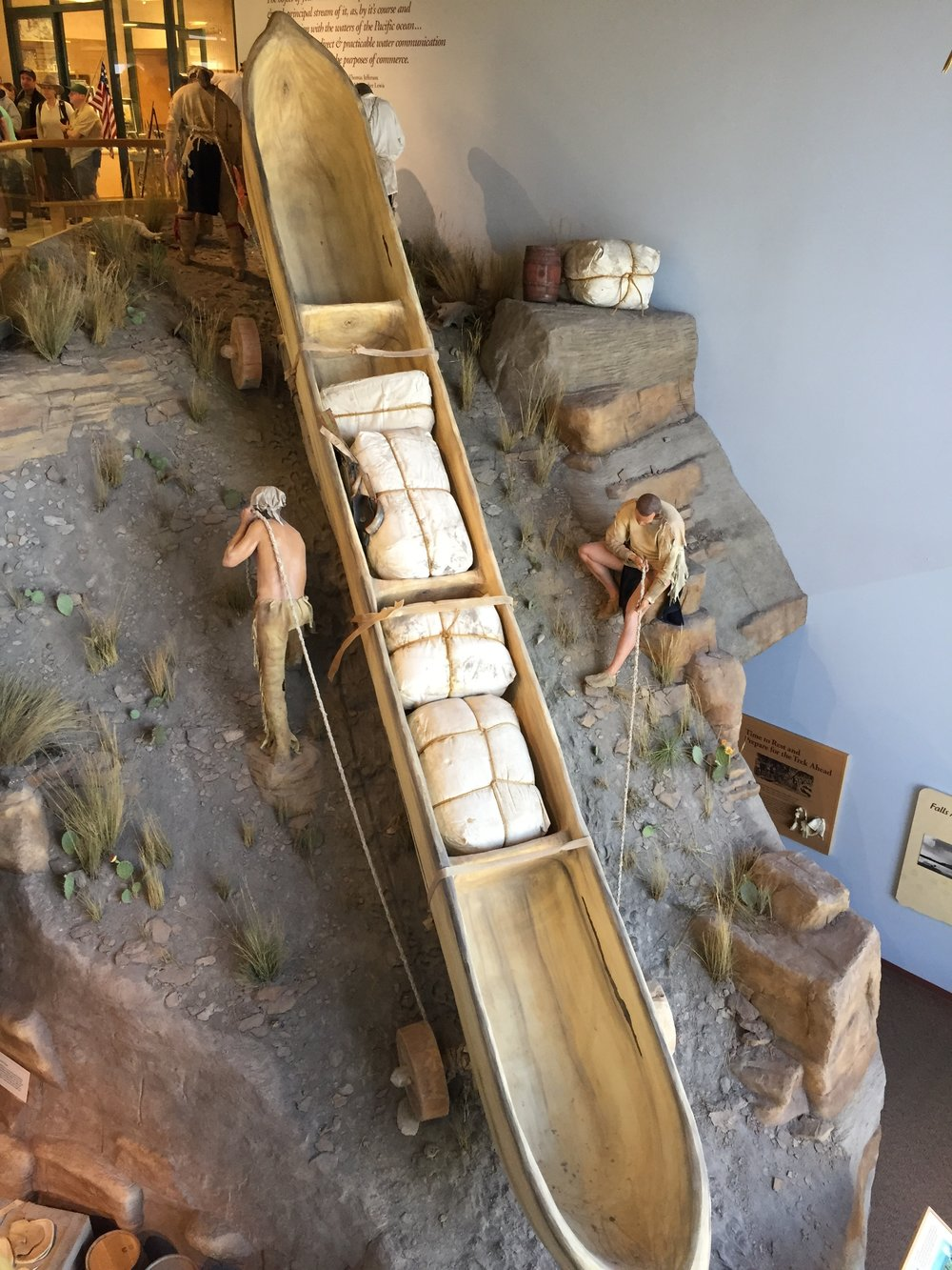 One of the exhibits in the center which shows how men moved their boats up and down the river banks.