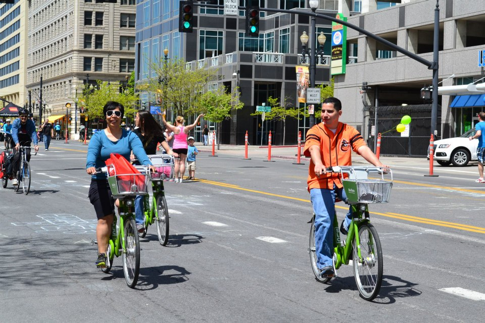 GREENbikes are part of the city's nonprofit bike share program. Source: Salt Lake City Corporation.