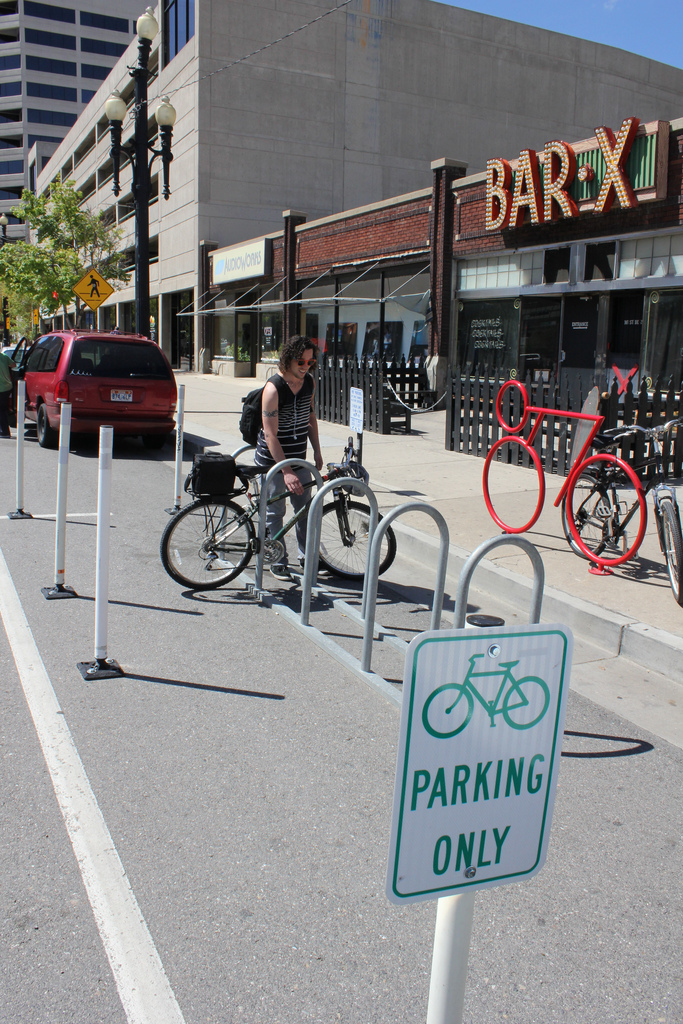 Bike corrals consist of a rack that will park 10 bikes in a parking space on the street. Source: Salt Lake City Corporation.