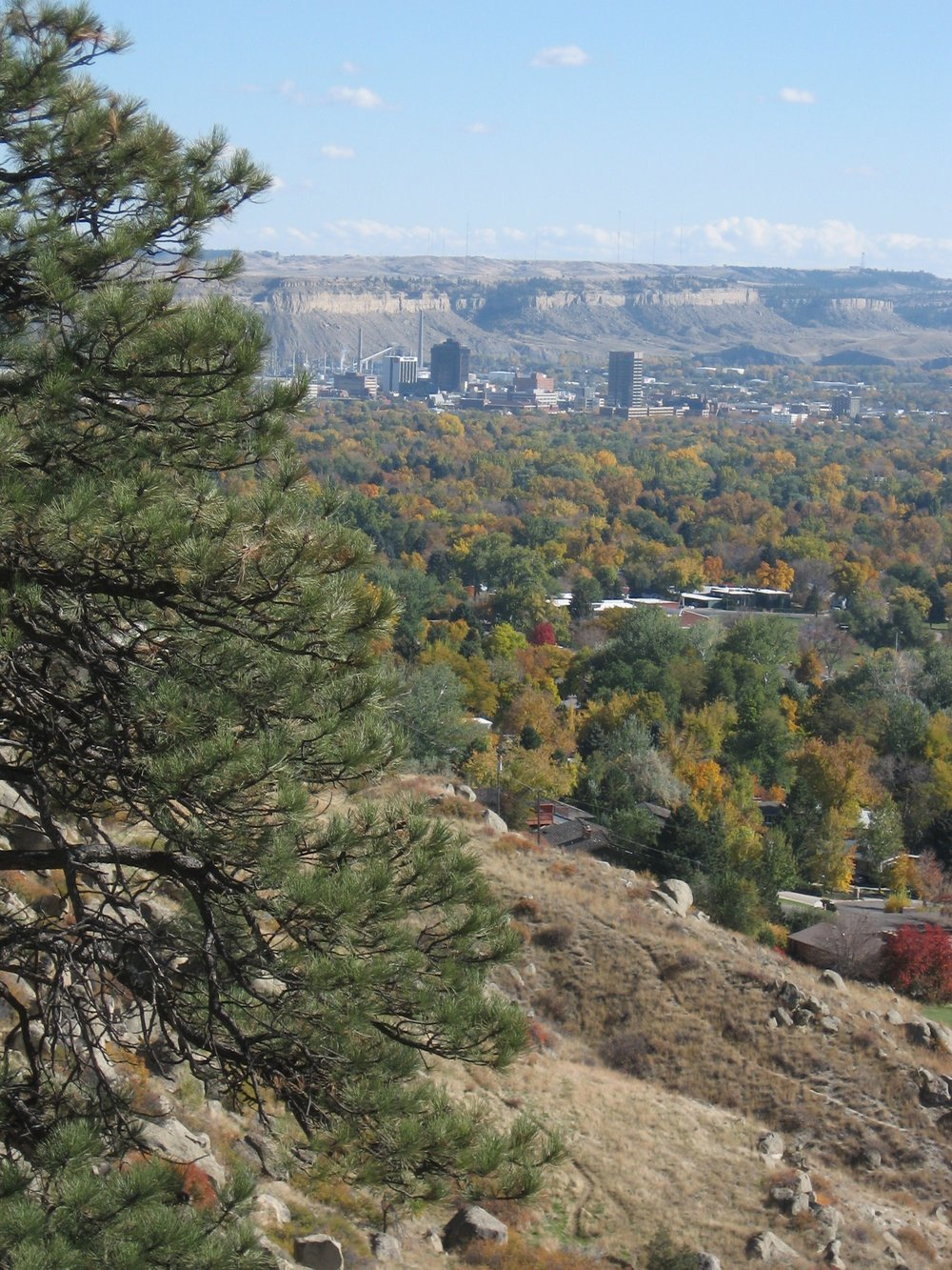 "A view of Billings with the downtown and ""Four Dances"" recreational area in background on top of the rims. Photo by DeeAnn Redman."