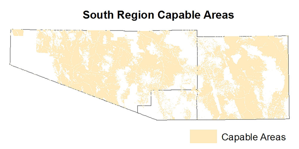 Figure 1: South region capable areas. Provided by Mark Apel.