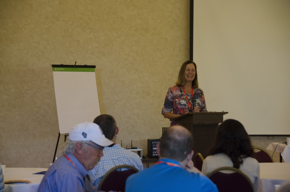 Welcome to Great Falls. Candi Millar, AICP, gives the welcome at the 2016 WP/MAP conference. Photo by Rachel Girt.