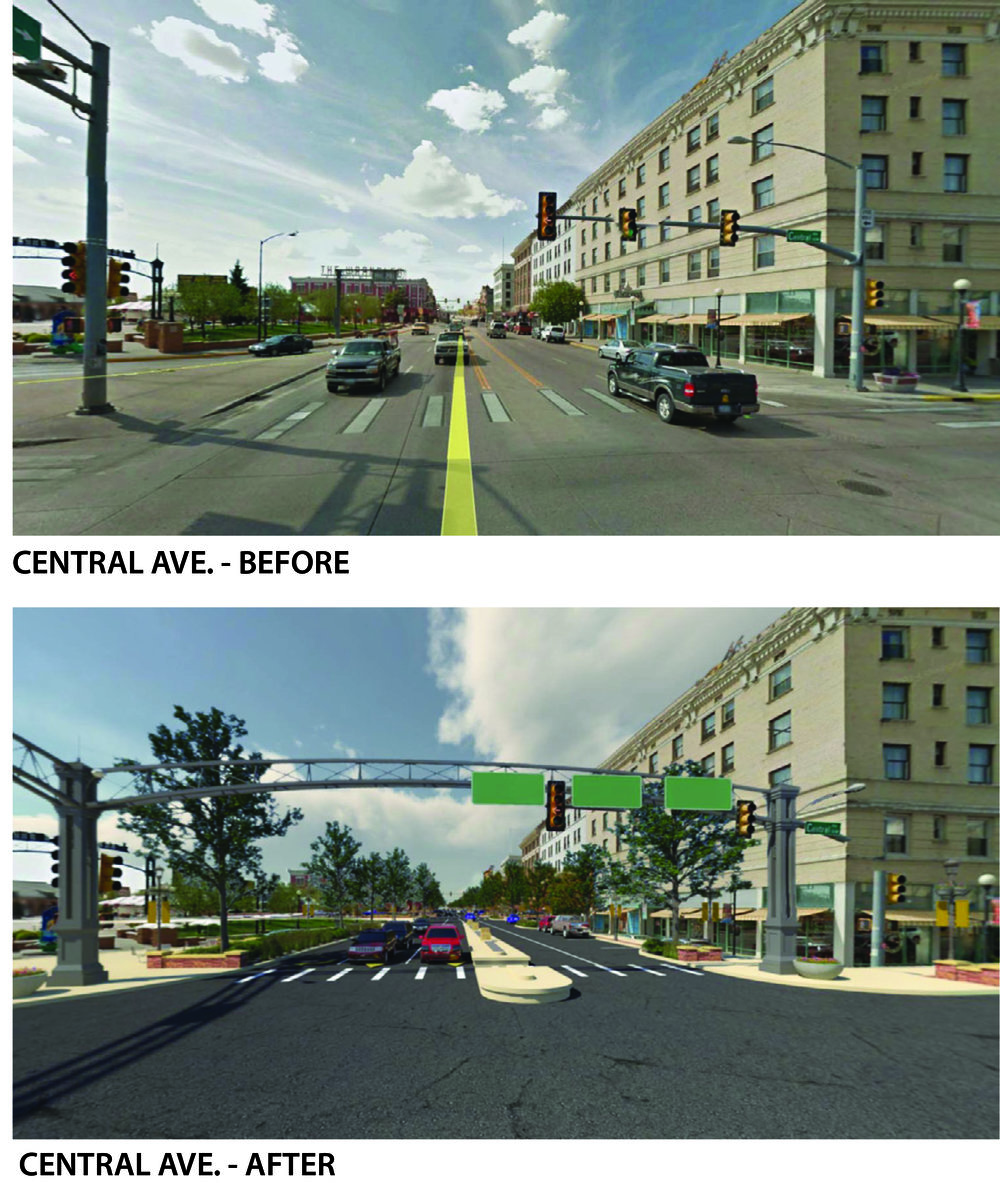 3D Illustration of Proposed Central Ave/Lincolnway Design. Graphic provided by City of Cheyenne.