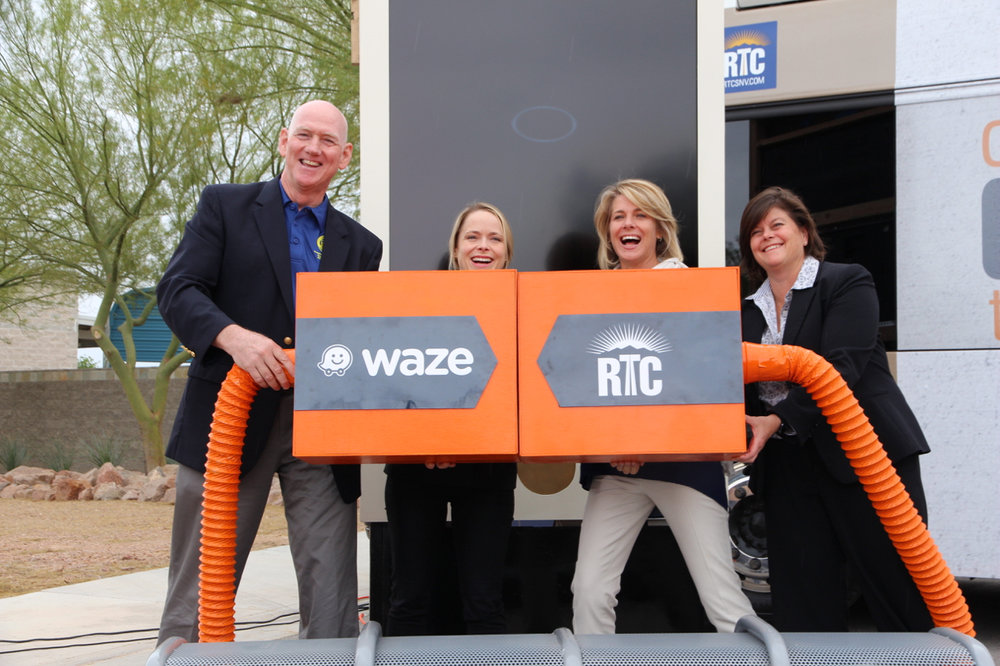 Clark County Commissioner and RTC Chairman Larry Brown, Connected Citizens program manager at Waze Paige Fitzgerald, RTC General Manager Tina Quigley and Las Vegas City Manager Betsy.