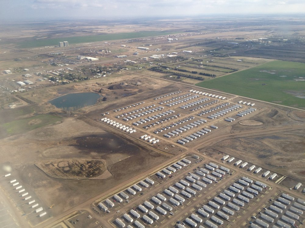 The hundreds of FEMA trailers that appeared after the flood. Today, this land is a new subdivision recently annexed into the city with a new school and fire station. Photo from the National Guard Helicopter tour.