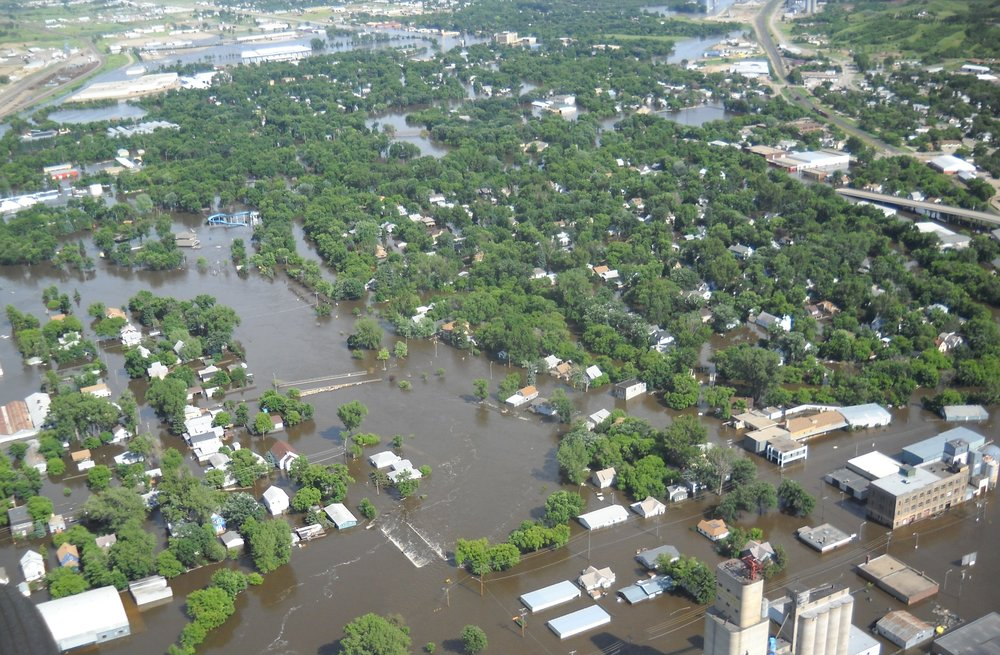 The 2011 flood waters completely engulfed the downtown, the historic district and the zoo. Photo from the National Guard Helicopter tour.