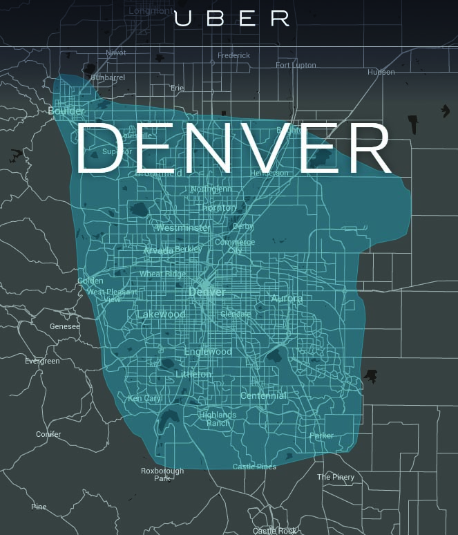 Uber. A screen shot of the area that Uber drivers cover in Denver, Colorado.