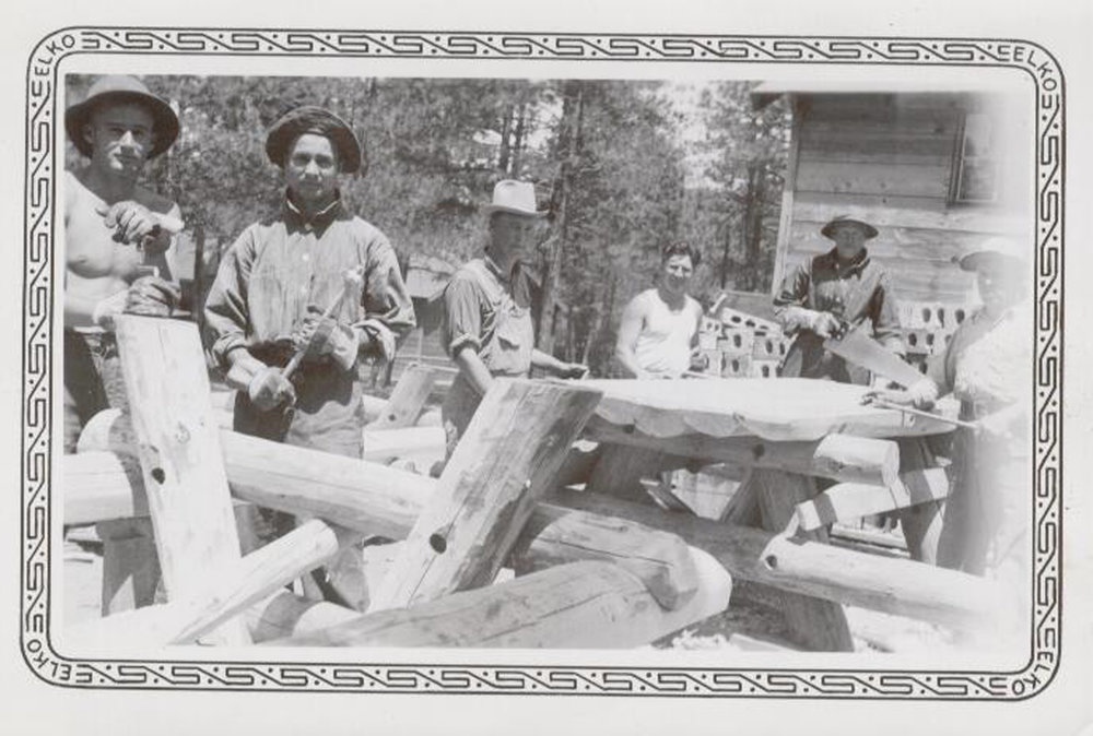 REMOTE WORK. In the left photo, enrollees from camp F-55-C, Beulah, Colorado, building picnic tables, 1937. From author's collection.