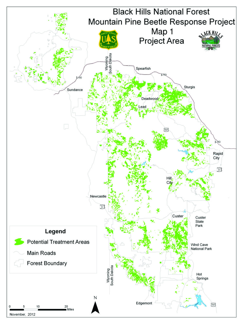 MAP: The Black Hills National Forest Mountain Beetle Response Project Map. Source: U.S. Forest Service, Black Hills National Forest.