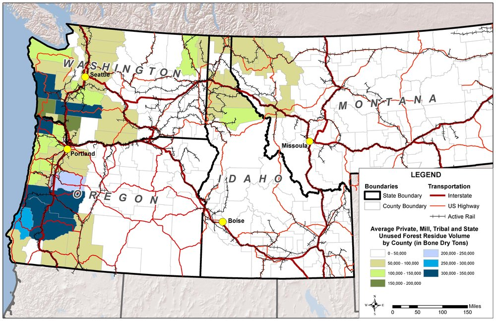 Figure 3: NARA Region with biomass availability. Natalie Martinkus, Washington State University.