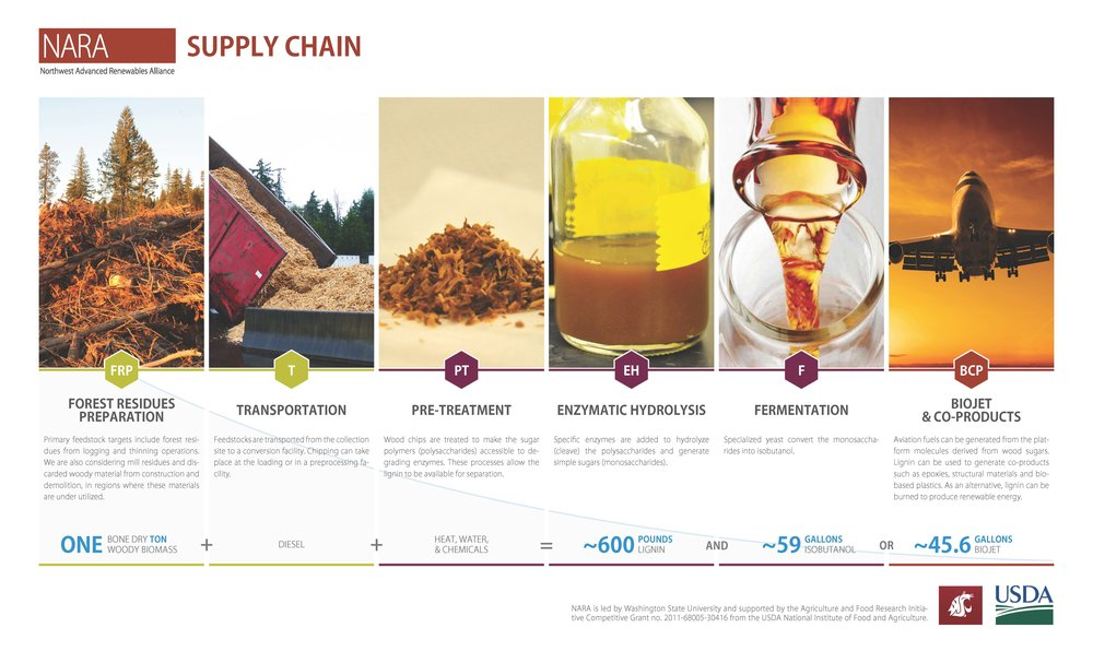 Figure 4: NARA supply chain. Northwest Advanced Renewables Alliance, Washington State University.