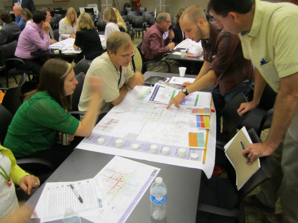 Planning for the future. Participants work on the CONNECTIONS exercise in Fargo, North Dakota, helping to update the area's long-range transportation plan. Photo by Patrick Hollister.
