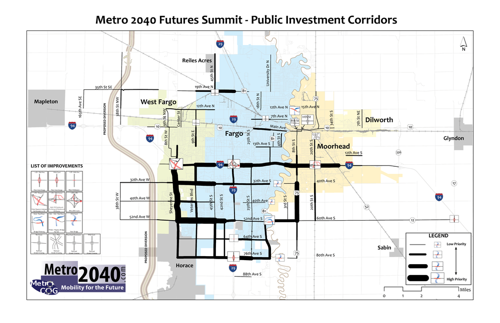 MAP. Compilation map summarizing public investment priorities during the CONNECTIONS exercise. Source: Metro COG, 2013.
