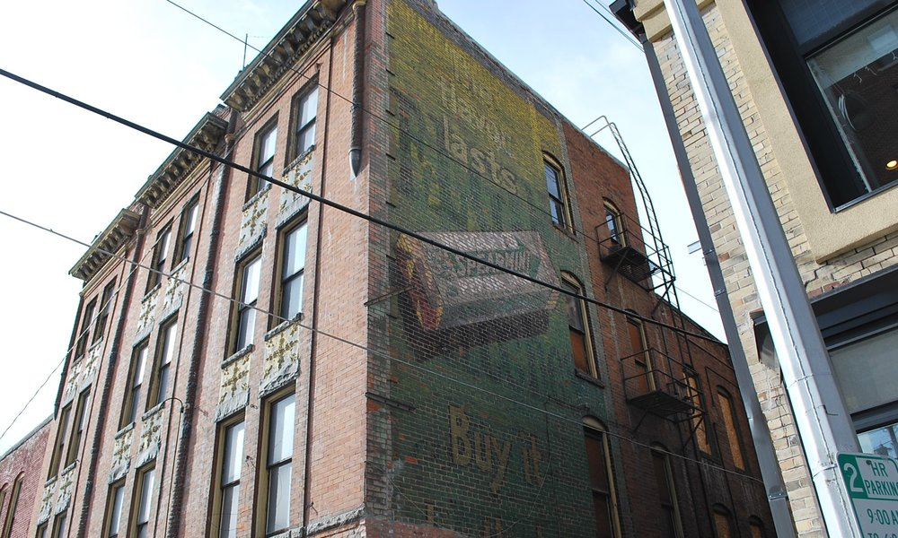 Wrigley Spearmint Gum ghost sign. Photo by Jim Jarvis.