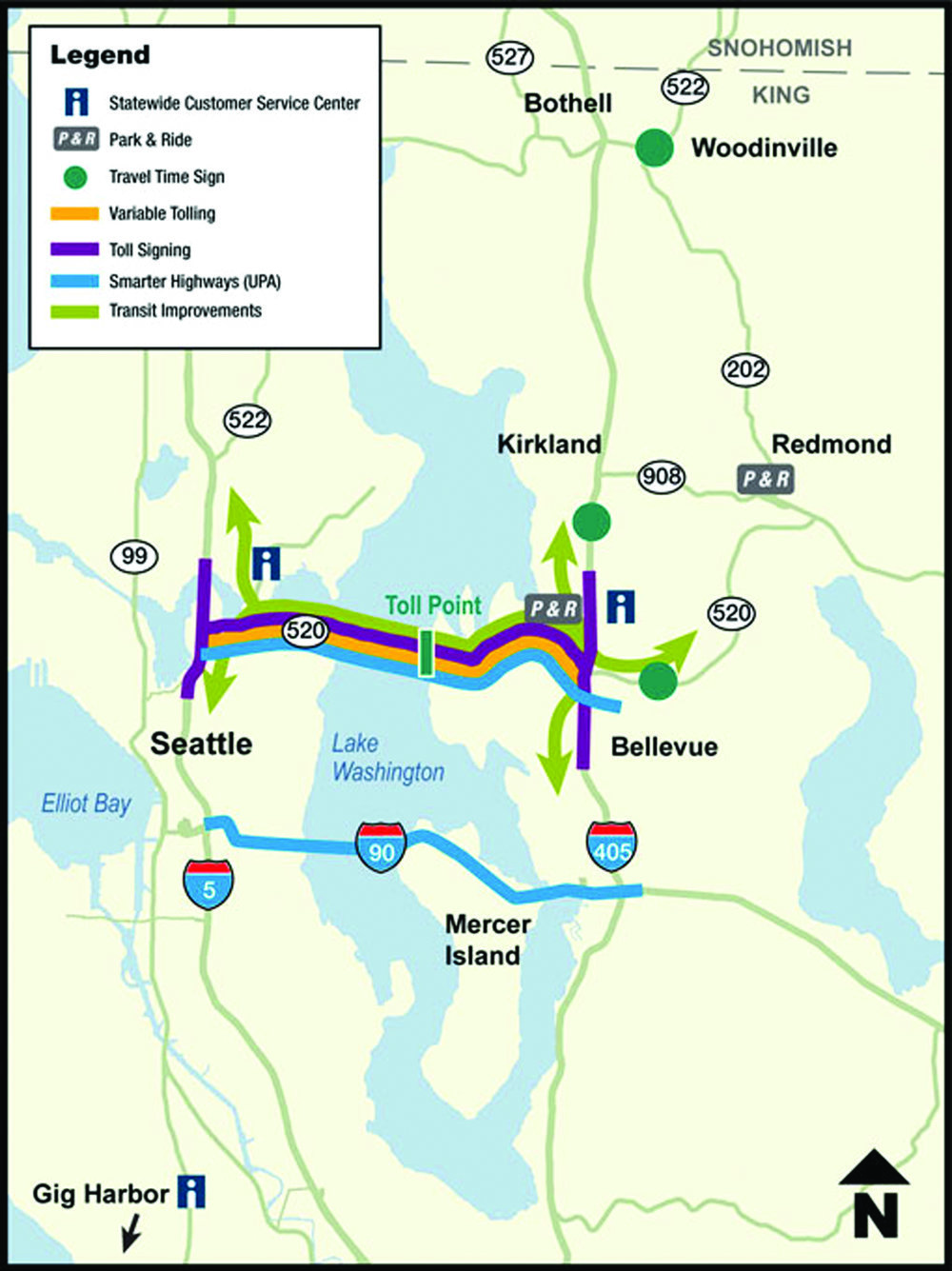 REDUCING CONGESTION: The Lake Washington Congestion Management Program is a series of projects to help address congestion and increase safety on SR 520 and I-90 in the Seattle area. Source: http://www.wsdot.wa.gov/Projects/LkWaMgt/upamap.