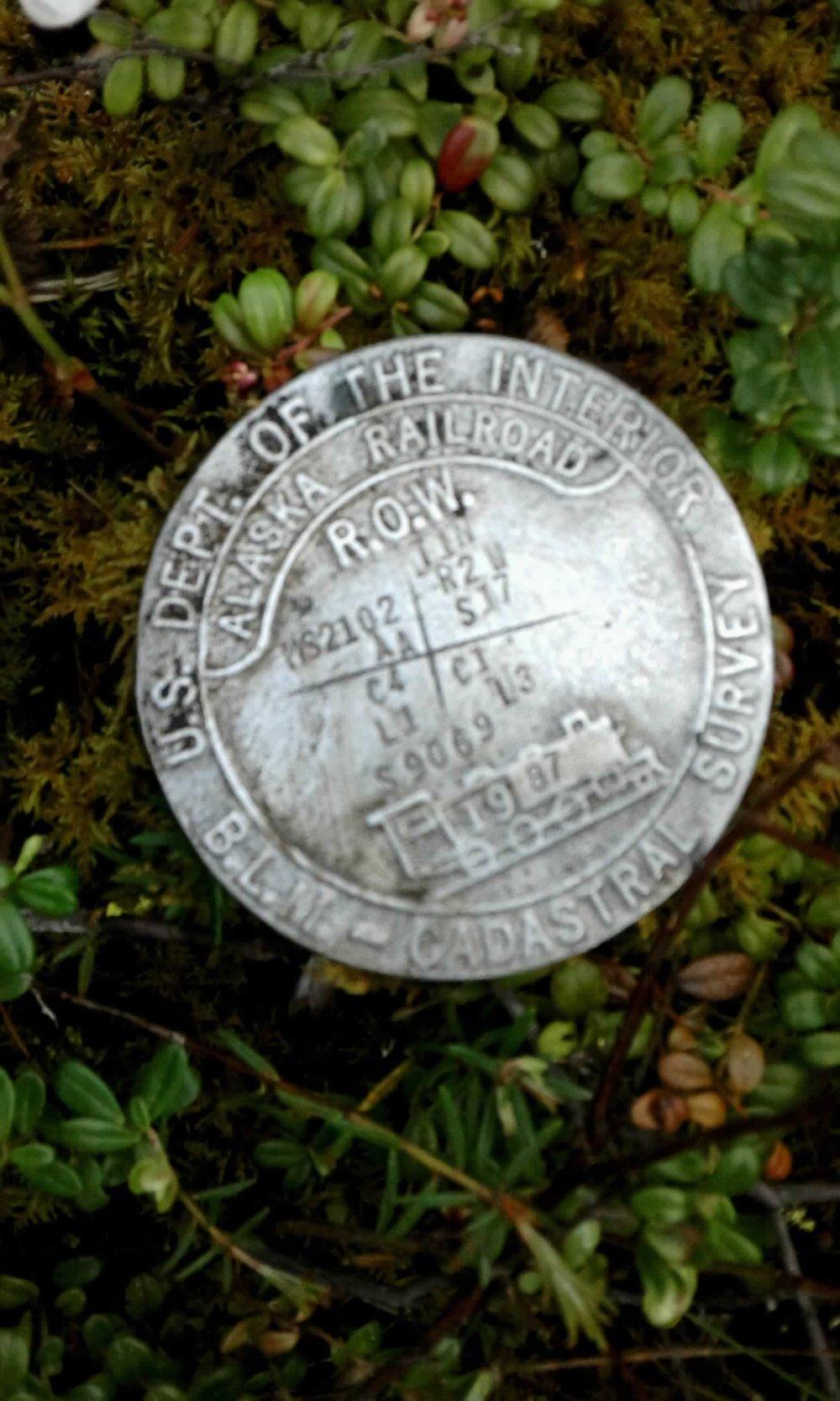 AK Railroad ROW & Mineral Survey Monument.