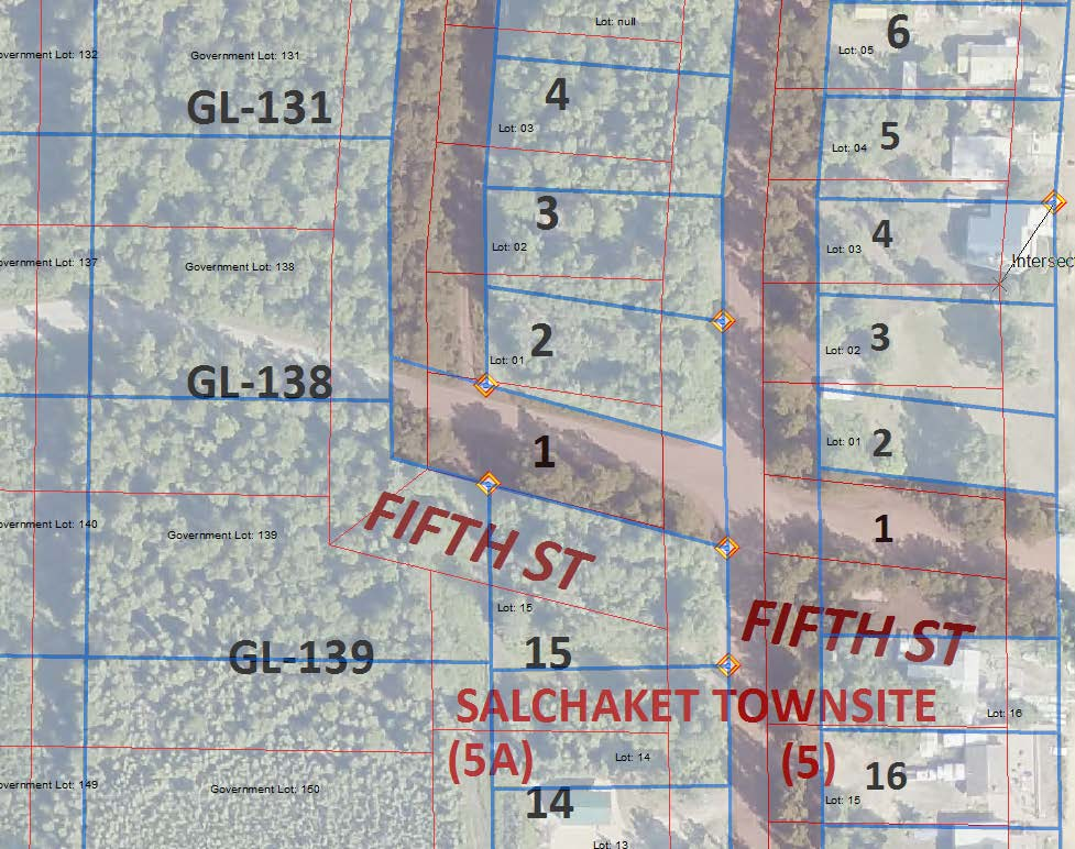 A snapshot of the GIS with the new parcel layer overlaying the original parcel layer.  The new layer is the blue; the old layer is red.