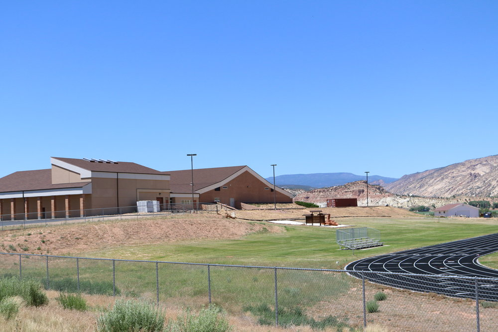 Escalante High School - nice new track and an increasingly empty center of local pride. Photo provided by Rural Planning Group.