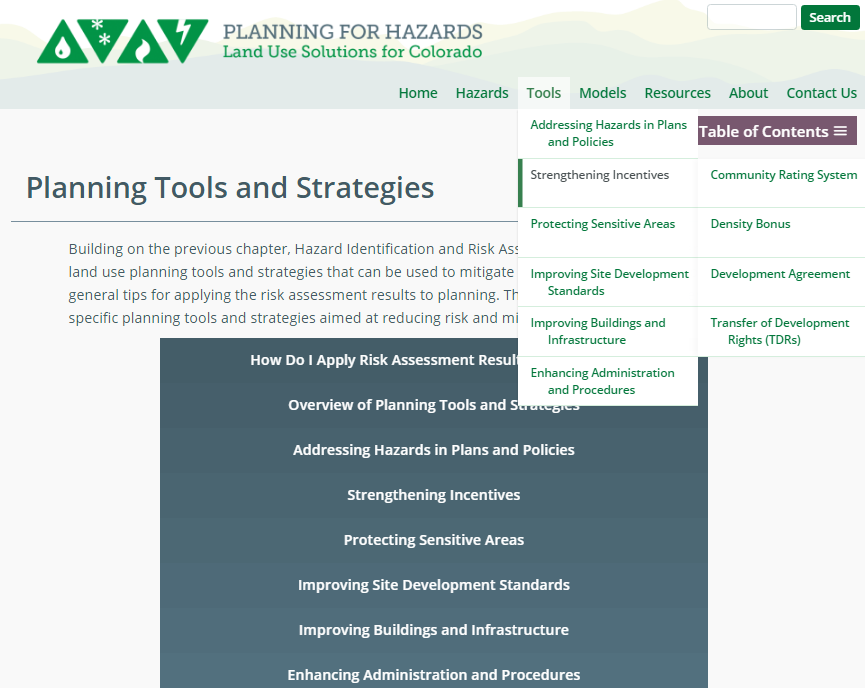 A screen shot of the Planning for Hazards: Land Use Solutions for Colorado website.
