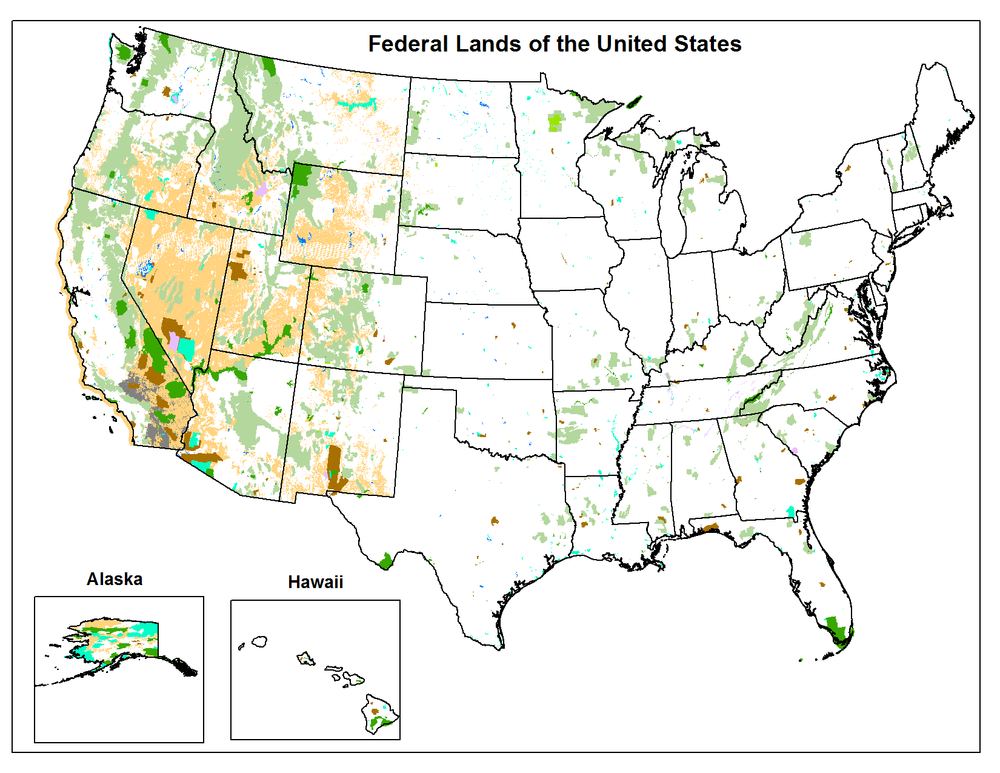 FIGURE 1: Source: U.S. Geological Survey, National Map Small Scale, Federal Lands of the United States.