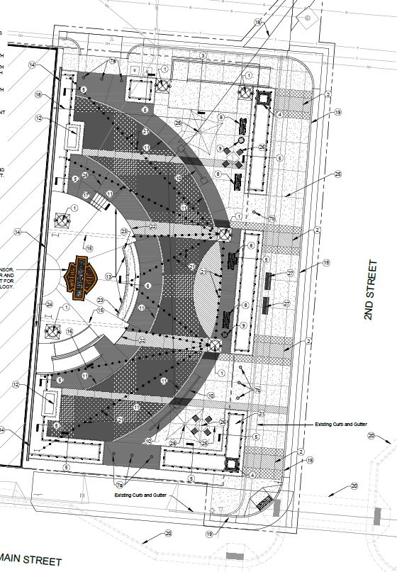 CONSTRUCTION DRAWINGS. The initial conceptual design progressed into finalized Construction Drawings. The site plan shown includes hardscape patterns and elements, along with space-defining features such as columns and planter seat walls. Graphic courtesy of FourFront Design.
