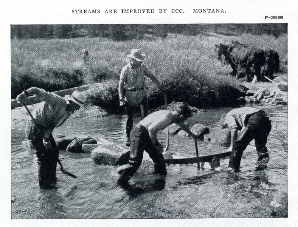 STREAMS ARE IMPROVED BY THE CCC. CCC ENROLLEES WORKING ON STREAM IMPROVEMENTS IN MONTANA. THIS IMAGE APPEARED IN THE CCC AND WILDLIFE, A CIVILIAN CONSERVATION CORPS PUBLICATION PRODUCED IN CONJUNCTION WITH THE U.S. BUREAU OF BIOLOGICAL SURVEY IN 1939. FROM THE AUTHOR'S COLLECTION.