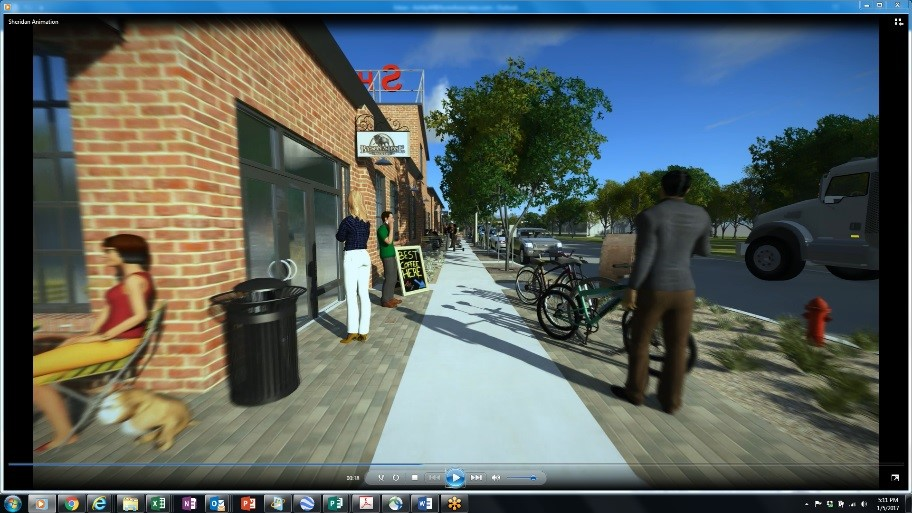 Figure 6 - The Sheridan Iron Works streetscapes show animated street life with pedestrians interacting and walking on spaces that are currently unattractive and lack placemaking elements to support active uses within the building.