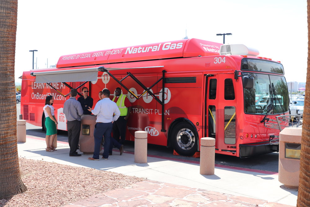 The Regional Transportation Commission of Southern Nevada (RTC) is hitting the road with a retrofitted 40-foot bus that has been meticulously designed to get the Southern Nevada community engaged and excited to talk about their future transit plan – On Board. Photo provided by RTC.