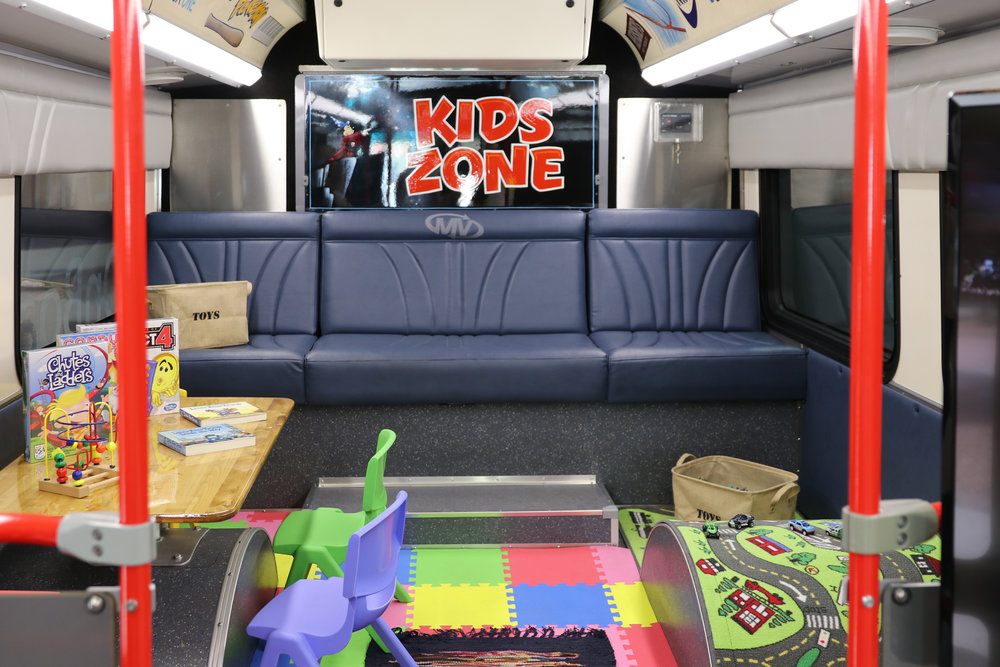 The air-conditioned bus includes a kids zone play area. Photo provided by RTC.