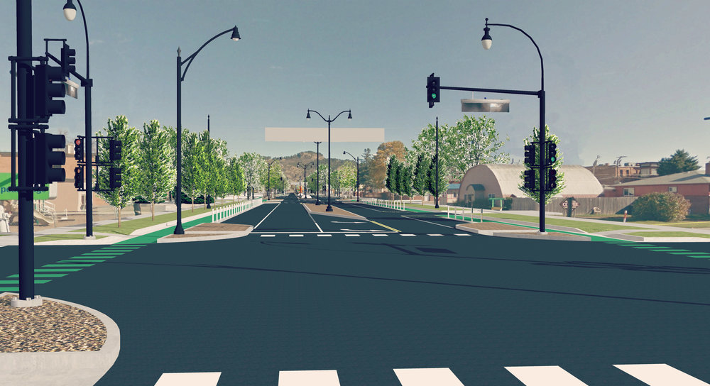 "Proposed ""after"" using a Road Diet design theme.   Graphic by Matt Fridell/Tallgrass Landscape Architecture."