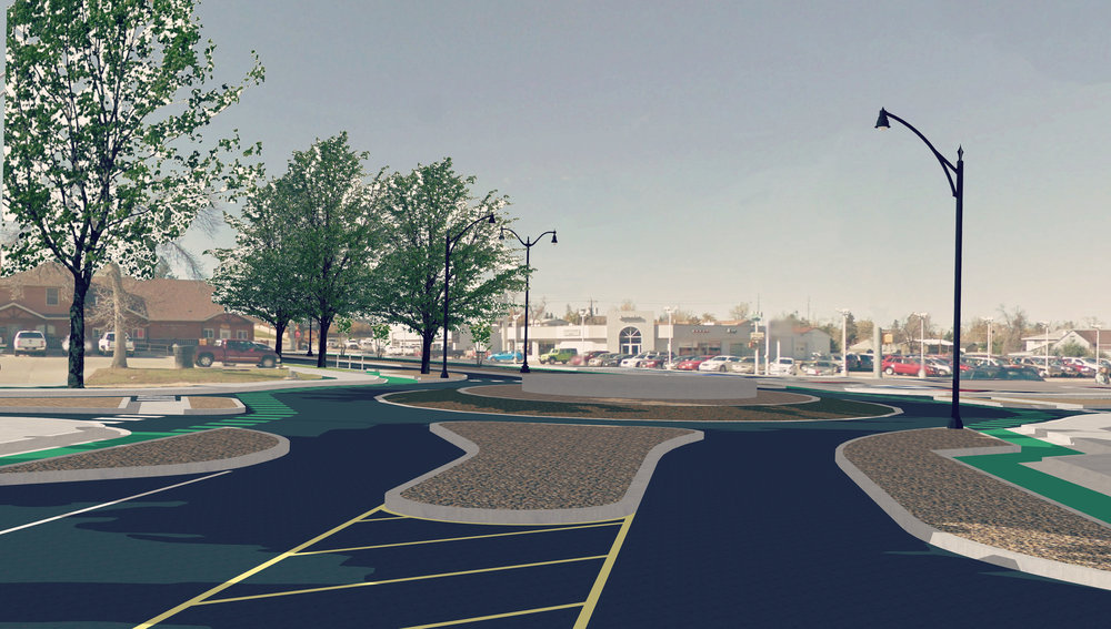 Proposed roundabout at Jackson and Ames Ave.  Graphic by Matt Fridell/Tallgrass Landscape Architecture.