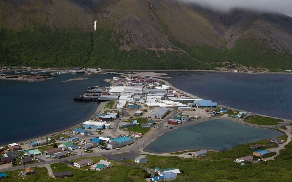 Downtown King Cove. Photo from Gary Hennigh's presentation to the 2017Arctic Energy Summit.