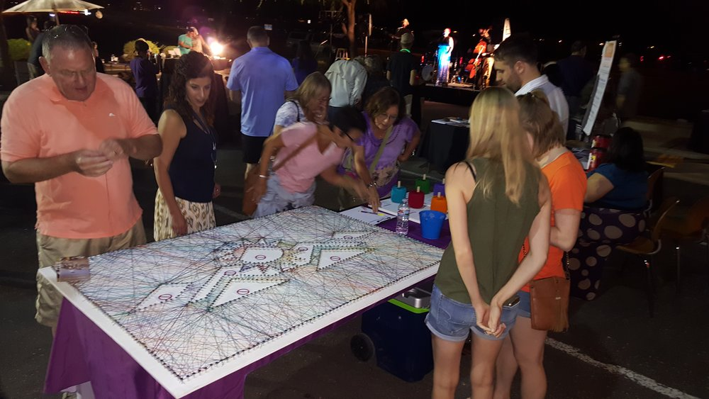"""String Art"" – a community art piece, representing participants that gave opinions and feedback on the Arts and Culture Matter Plan, was created during the 2017 Art Week at the ""Surprise Block Party"" hosted by a local art organization. Photo provided by City of Surprise."