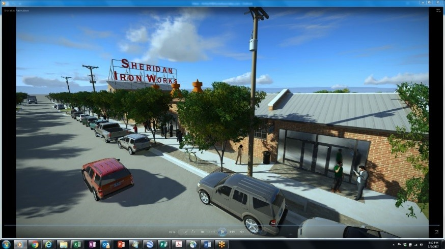 FIGURE 5 - THE SHERIDAN IRON WORKS 3D DIGITAL ANIMATION FLIES THE VIEWER PAST A REIMAGINED BUILDING, TEAMING WITH ACTIVITY TO ILLUSTRATE THE REDEVELOPMENT POTENTIAL.