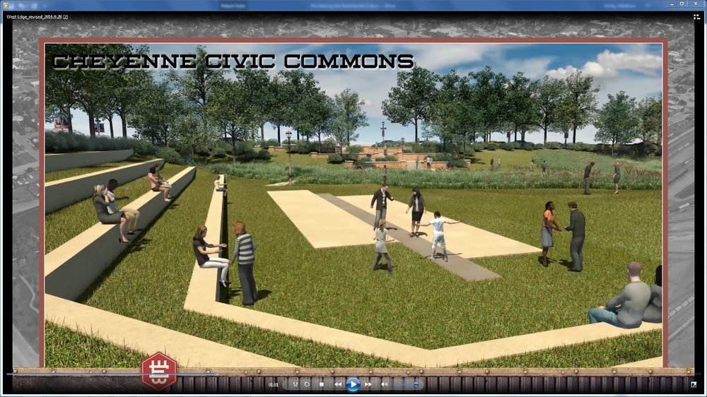 FIGURE 8 - A SCREENSHOT FROM THE 3D ANIMATION OF CIVIC COMMONS PARK, A COMBINED DETENTION FACILITY AND PUBLIC AMPHITHEATRE SPACE. (COURTESY CITY OF CHEYENNE)