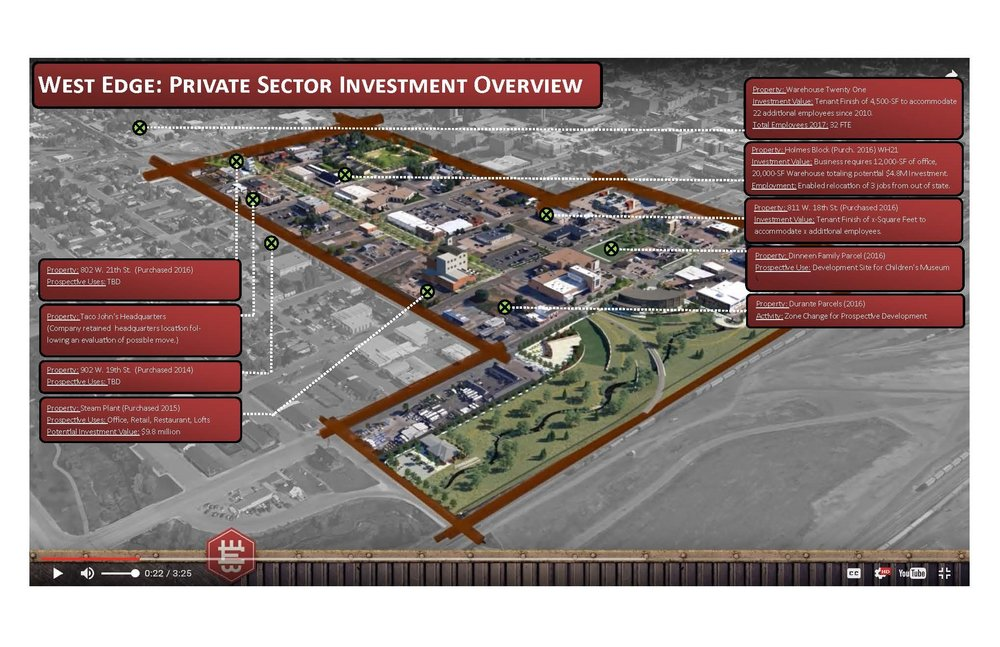 FIGURE 10 - MAP DEPICTING PROPERTIES THAT HAVE CHANGED HANDS IN ANTICIPATION OF INVESTMENT BASED UPON THE OVERALL WEST EDGE VISION ILLUSTRATED IN THE 3D ANIMATION.  SEVERAL OF THESE PROPERTIES ARE AWAITING CONSTRUCTION OF PUBLIC PLACEMAKING INFRASTRUCTURE PRIOR TO INITIATING CONSTRUCTION.