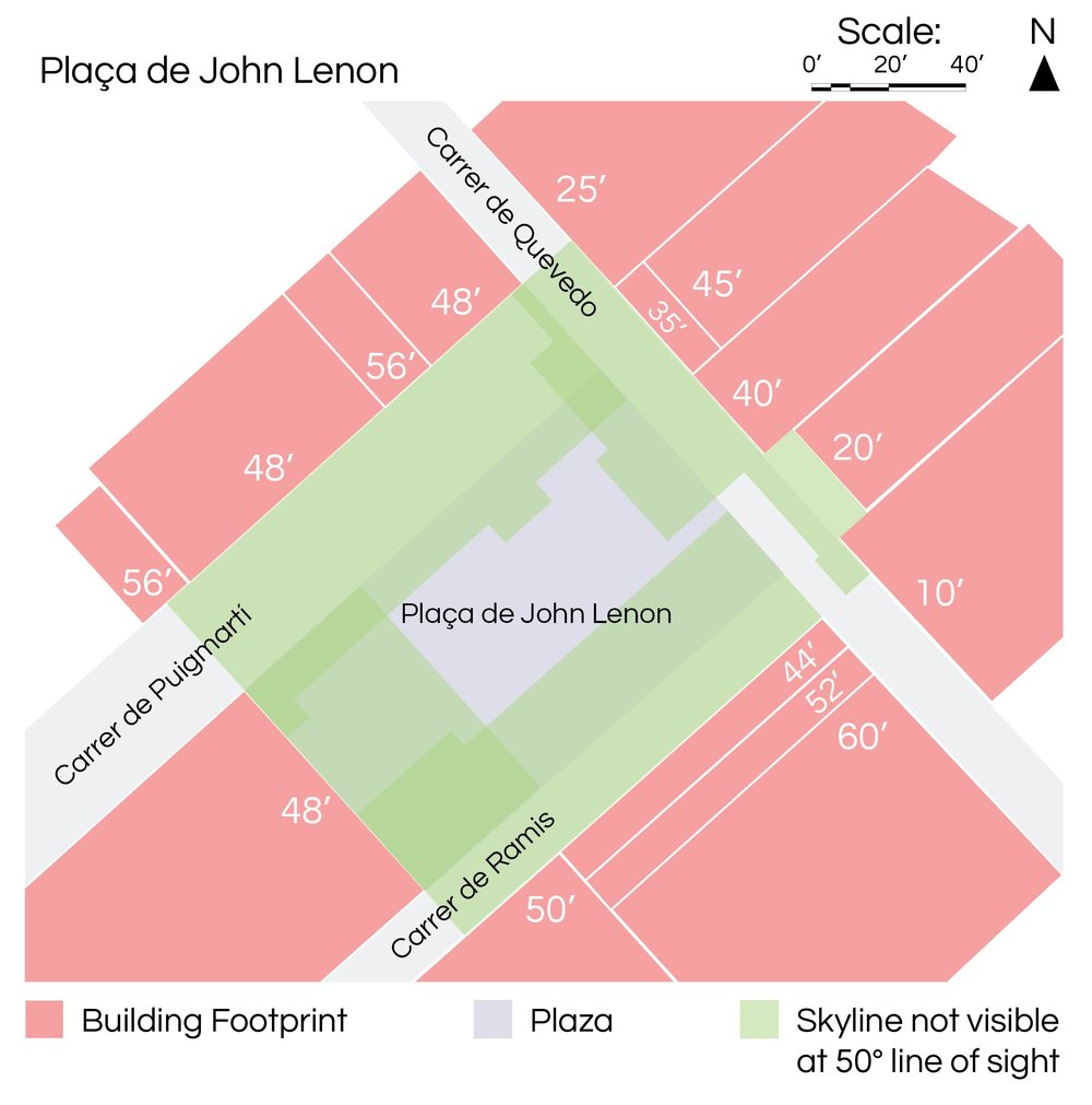 DIAGRAM: PLAÇA DE JOHN LENNON ILLUSTRATING THE AREA FROM WHICH YOU CAN SEE THE SKY