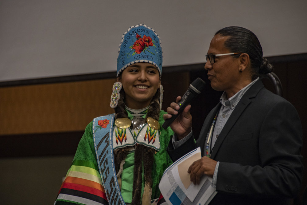 Alonzo Coby, Planning Director of the Shoshone-Bannock Tribes, introduces Crystal Dawn Ariwite, 2017-2018 Miss Shoshone-Bannock.