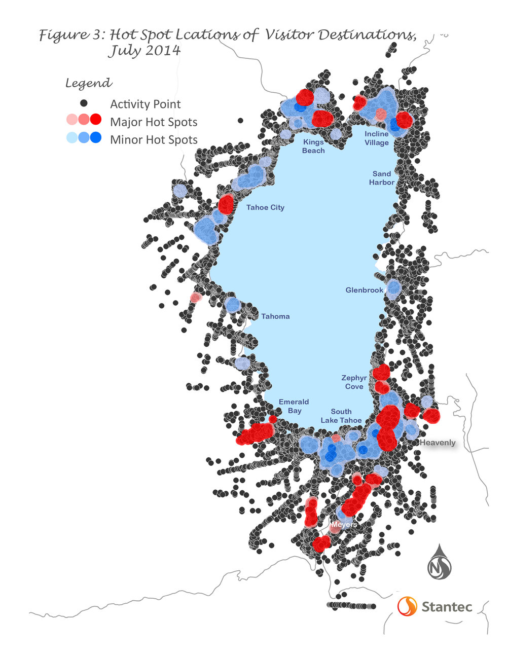 The Linking Tahoe: Multimodal Transportation Management Plan included detailed recommendations for transit services and route, prioritized gaps in bikeways, proposed sidewalks; and most importantly, identified numerous mobility hub locations throughout the Lake Tahoe Basin and at key interception points.  An overall summary of the transit recommendations is shown in Figure 4.