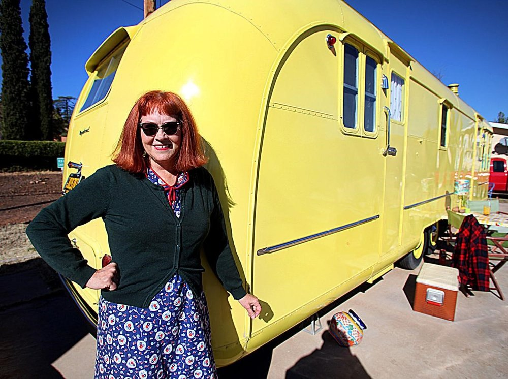 Kristine Gale and her 1953 Vagabond trailer. Photo courtesy of  Herald/Review.