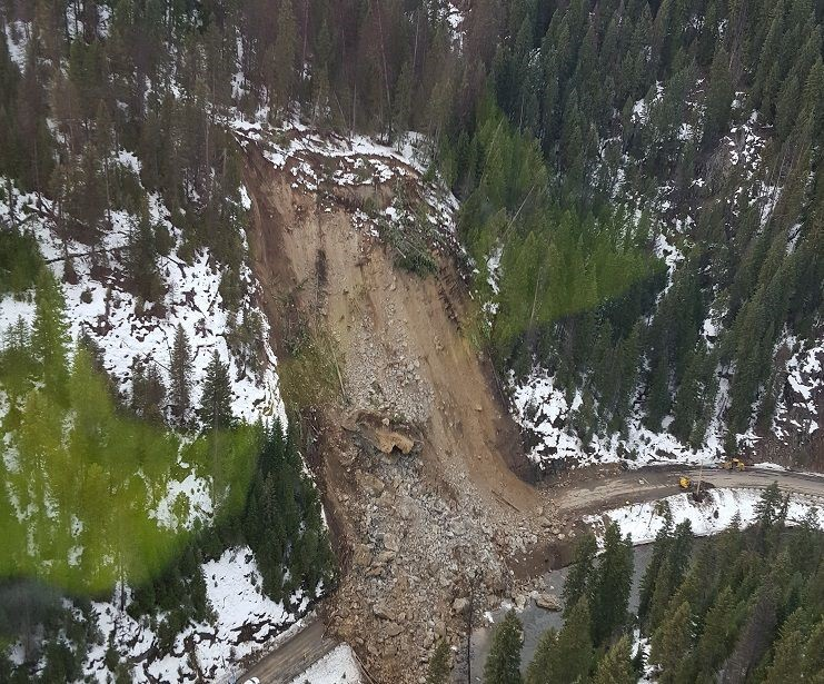 Figure 4 - Idaho State Highway 14 landslide. Photo credit: Idaho County Free Press