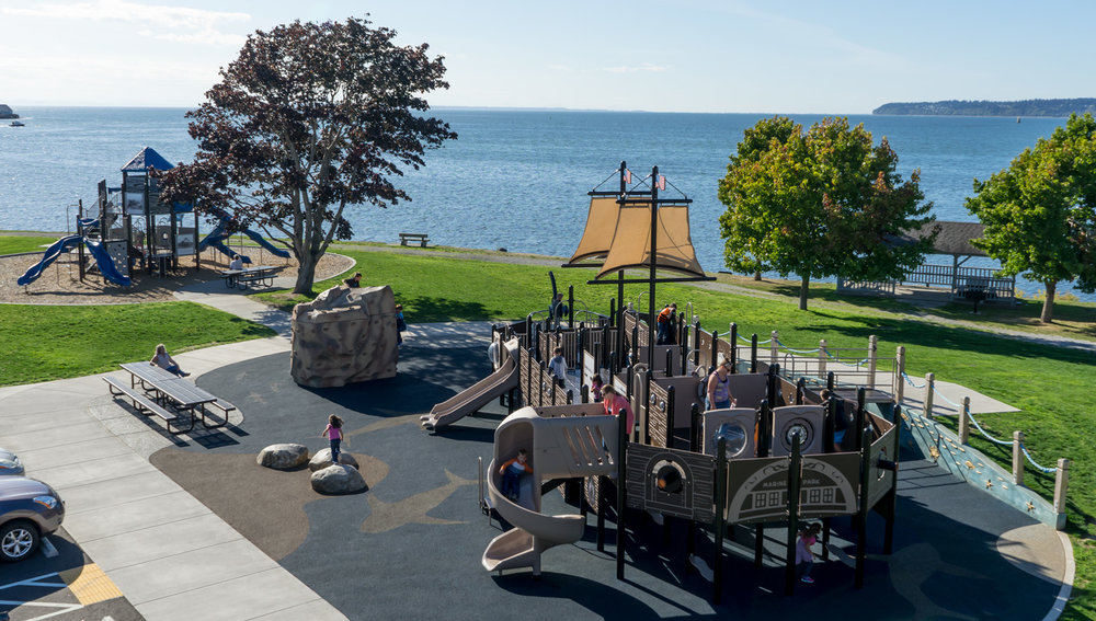 The Blaine Marine Park Playground - a premier destination waterfront playground in Marine Park. Photo provided by Alex Wenger, AICP.
